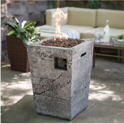Fire Pit Table Column Propane Gas Stone Patio Fireplace Heater Accent Deck Cover