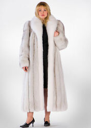 Plus Size Natural Blue Fox Fur Coat with Natural White Fox Collar 52