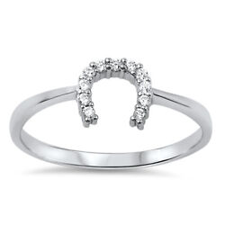 Horse Shoe Cubic Zirconia .925 Sterling Silver Band Ring Sizes 4-10 NEW