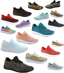 Women's Fahsion Sparkling Glitter Lace Up Light Weight Sneaker Shoes Size 5 - 11
