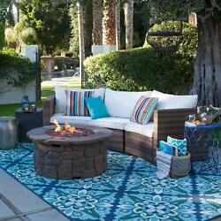 Wicker Patio Curved Sofa Set w Fire Pit Propane Outdoor Furniture Sofa Cushions