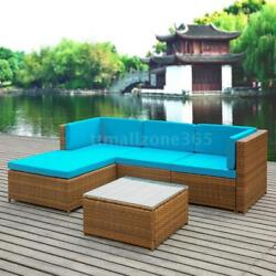 HOT 5PC Rattan Wicker Sofa Set Couch Blue Cushioned Furniture Patio Outdoor S9Z4