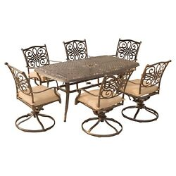 Patio Dining Set Outdoor Garden Furniture Aluminium Table 6 Swivel Chairs 7pc