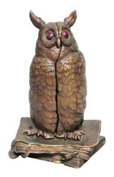 Decor Art. Austria. Bergman Bronze. Gag figurine Owl on the books.
