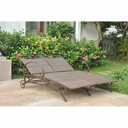 Brown Resin Wicker Double Chaise Patio Lounge Chair Outdoor Home Furniture Deck