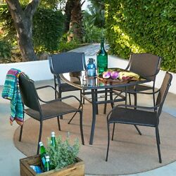 Brown Resin Wicker 5 Piece Patio Dining Glass Table Set Outdoor Home Furniture