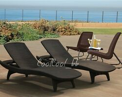 5 Piece Brown Resin Patio Bistro Lounge Collection Set Outdoor Home Furniture