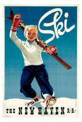 SKI NEW ENGLAND The New Haven Railroad Vintage c.1945 Skiing POSTER Reprint $16.99