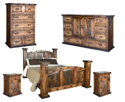 9 PC Bedroom Set Rustic Mexican Tobacco Brown Queen Size Handmade Distress Wood