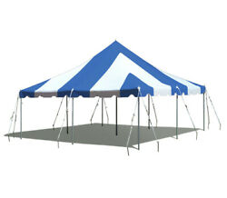 20x20' Blue White Pole Tent Wedding Event Canopy Commercial Waterproof Vinyl Top