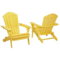 2-Pack Yellow Adirondack Chairs Folding Outdoor Wood Patio Porch Garden Seating