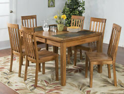 Vintage Style 6 PC Dining Table Set in Handmade Distressed Natural Tiled Wood
