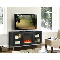 52-Inch Avenue Wood Fireplace TV Console with Metal Legs - Black