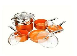 10-Piece Copper Luxury Induction Nonstick Cookware Set Steamer Skillet Sauce Pan $69.87
