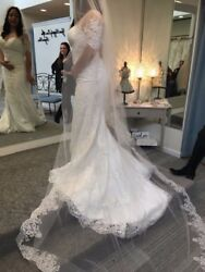 Lace Wedding Dress By Kenneth Winston Size 12 Ivory really good conditions