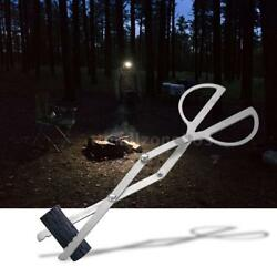 Outdoor Portable Campfire Tongs Grabber Fireplace Log Fire Pit Grill Tool L7C7