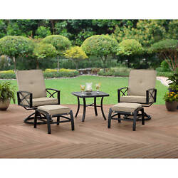 Patio Chat Set 2 Swivel Chairs Table W Ottoman Outdoor Bistro Garden Furniture
