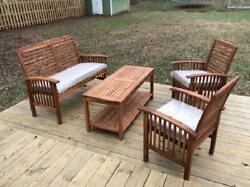 Garden Conversation Set 4 Pc Bench Chairs Coffee Table Cushion Solid Wood Brown