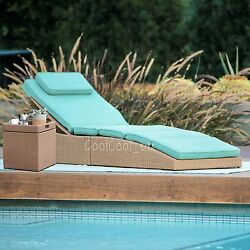 2 Piece Blue Cushion Resin Wicker Folding Patio Chaise Lounge Storage Cube Set