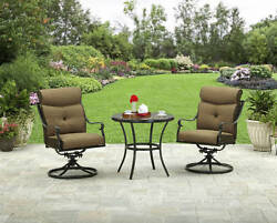 3 Piece Patio Bistro Seating Set Outdoor Home Furniture Garden Aluminum Cushions