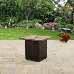 "Outdoor Fir Pit Table Fireplace Square Heater Wicker Gas 28"" Brown Backyard"
