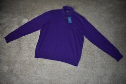 Polo Ralph Lauren Purple Mens 100% Italian Yarn Cashmere 12 Zip Sweater X Large