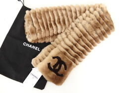 New CHANEL Orylag Lapin Rabbit Fur Scarf Muffler Cashmere Brown 13142007700 BG