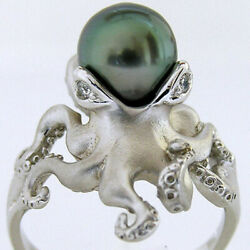 White Gold Plated Green Pearl Octopus Women Jewelry Ring Engagement Size 6-10