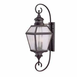 Chiminea 11-Inch English Bronze Steel Three-Light Outdoor Wall Mounted Lantern