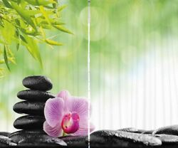Stone Spa Orchid Flower CURTAIN PANEL Set Bamboo Leaves Petal Nature Decor 96