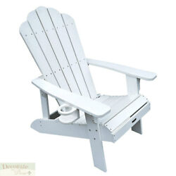 ADIRONDACK 4 CHAIR SET WHITE Solid Polyresin Outdoor Wide Armrests High Back New