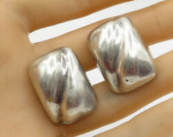 MEXICO 925 Sterling Silver - Vintage Concave Path Puffy Clip On Earrings - E1754