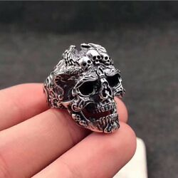 Cool Men's Stainless Steel Gothic Punk Skull Head Boy Biker Finger Ring Jewelry