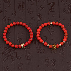 His and Hers King Queen Zircon Pave Crown 8mm Round Ball Red Turquoise Bracelets