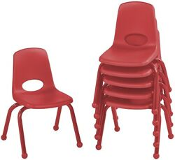 ECR4Kids 12' School Stack Chair with Powder Coated Legs and Ball Glides Red