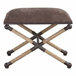 Rope Bench Navy Taupe Brown Footstool Furniture Ottoman Coastal Decor Nautical