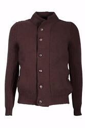Malo Men's Cardigan Front Button Sweater Cashmere Brown 48 IT 38 US NEW