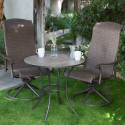 Brown 3 Piece High Back Resin Wicker Bistro Patio Set Outdoor Home Furniture