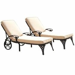 Biscayne Black Chaise Lounge Chairs with Taupe Cushions Set of Two