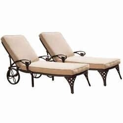 Biscayne Bronze Chaise Lounge Chairs with Taupe Cushions Set of Two