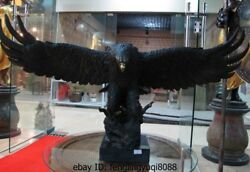 Western Art Decor Copper Bronze Marble Base Figurine Eagle Bird Statue Sculpture