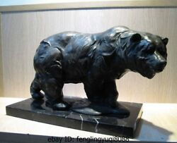 Western Art Decor Copper Bronze Sculpture Polar Bear Marble Base Statue Figurine