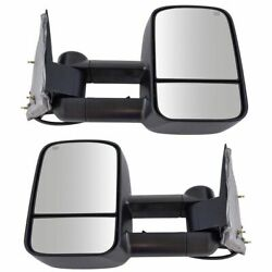 Towing Mirror Power Heated Textured Black Pair for Chevy Silverado GMC Sierra