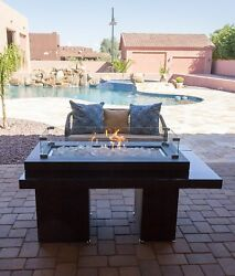 Fire Pit Table Outdoor Rectangle Large Two Tier Propane Gas Glass Top Fireplace