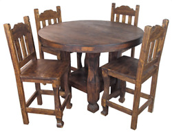 Vintage Mexican Round Dining Bistro Table Set Handmade Solid Wood 4 Bar Stools