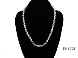 7-8mm white round freshwater pearl with jade single strand necklace 19