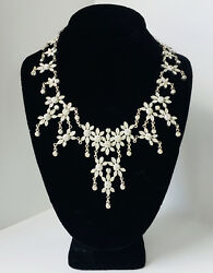 Vintage Sterling Silver 925 FAS Chandelier Crystal Necklace 20#x27;#x27; L 65 Grams $165.00