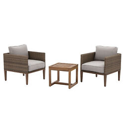Patio Chat Set 3pc Garden Furniture Conversation 2 Chair W Table Bistro Wicker