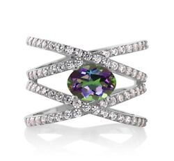 2.23 Ct Oval Green Mystic Topaz 925 Sterling Silver Ring