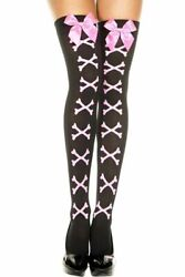 Cross Bone with Bows Thigh High Stockings $7.95